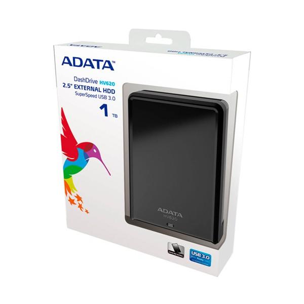 """4e9cbbec9c70b Disco Duro Externo Adata HV620 2.5""""- 1TB – USB 3.0 – Negro – para Mac PC."""